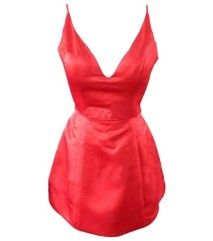 short-red-taffeta-low-cut-prom-party-dresses